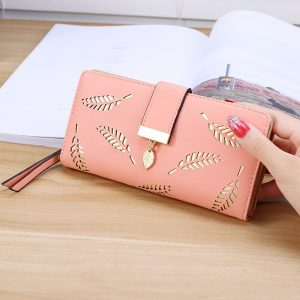 Women Wallet Purse Female Long Wallet Gold Hollow Leaves Pouch Handbag for Women Coin Purse Card Holders Cartera Mujer