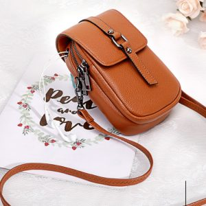 Double Zipper Genuine Leather Women Mobile Phone Bags Fashion Small Change Purse Female Shoulder Bags Mini Messenger Bag