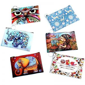 19 new women's coin purse cute cartoon print graffiti style fashion mini clutch purse