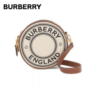 BURBERRY Logo Graphic Canvas Round Bags Luxury Women Clutch Handbags Adjustable Leather Strap Crossbody Shoulder Bags