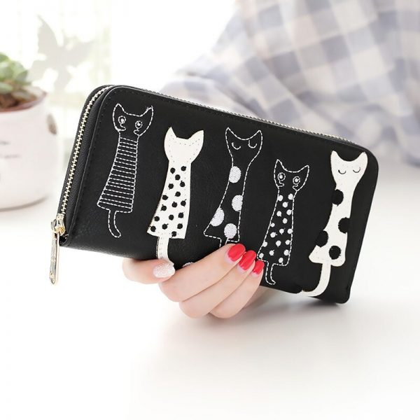 New fashion Women Wallets female cards holder cute cartoon cats leather wallet coin purses girls clutch Long zipper Wallet