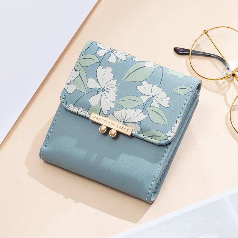 Brand New Women's Cute Fashion Purse Short Printing Flower Wallet Coin Purse Female Two Fold Clutch Multifunction Wallets
