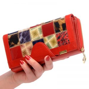 Genuine Leather Wallets Fashion Long wallet Plaid Student Coin Purse Card Holder Ladies Clutch Bag Small Female Purse JC121