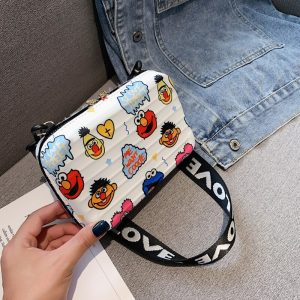 Luxury Wide Letter Strap Crossbody Bags Women Cartoon Printed Small Luggage Handbag Suitcase Shape Tote Mini Box Bag Clutch Bags