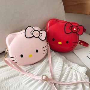 Anime Cat Women PU Leather Shoulder Bags Cartoon Cat Designer Bags Large Capacity Lady Bags Zipper Portable Clutch Handbags