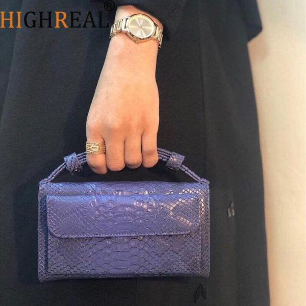 HIGHREAL Crocodile Pattern Leather Clutch Women Cowhide Leather Day Clutch Handbag Shoulder Chain Bag Drop