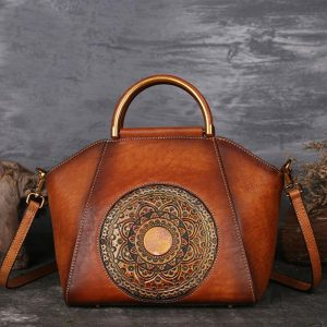 Original 100% Genuine Leather Bag Retro Embossed Cowhide Women Handbags High Quality Vintage Manual Paint Crossbody Hobos Bags
