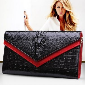 16 GESUNRY Genuine Leather Women Crocodile Shoulder Bag Trendy Women Clutch Wallet Purse Lady Messenger Bag