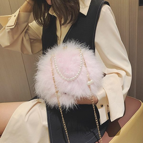 Designer Ostrich Feathers Round Evening Party Bag