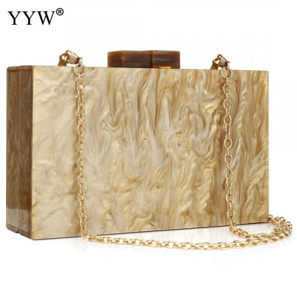 Acrylic Women'S Bag With Chain Champagne Evening Clutch Ba