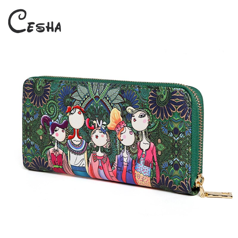 Cesha Fashion Green Cartton Printing Women's Wallet High Quality PU Leather Purse Bag Pretty Style Girl's Lovely Clutch Wallet