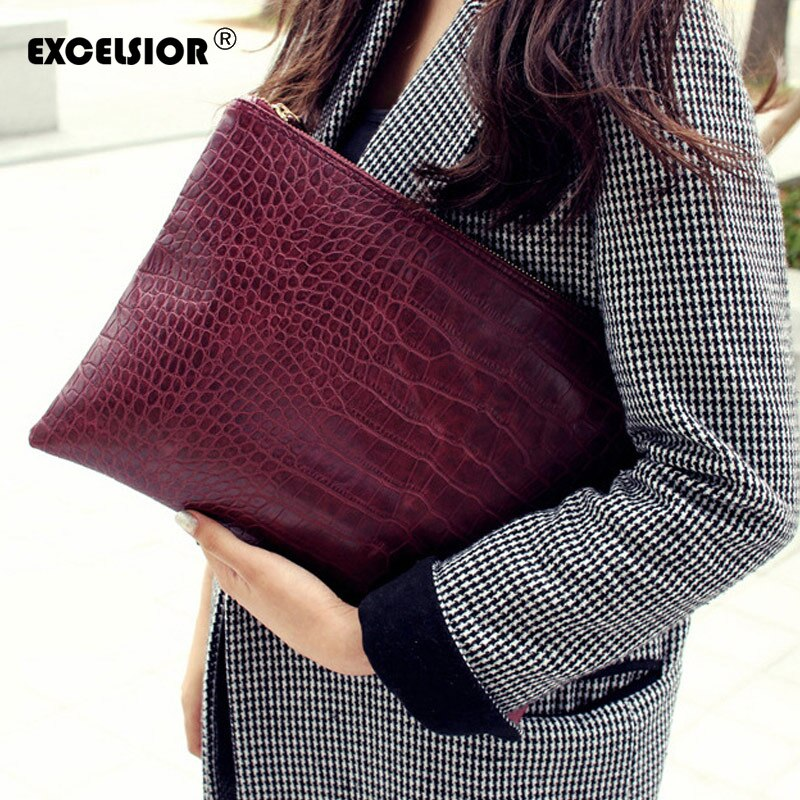 EXCELSIOR Women's Clutch New Arrival PU Leather Women's Bag Crocodile Pattern Clutches Handbags for Female