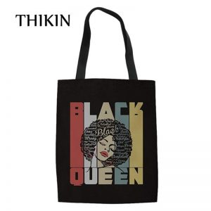 THIKIN African American Black Girls Canvas Women Tote Shoulder Bag Handbag Pink Verras Pop Shopper Bags Reusable Shopping Bag