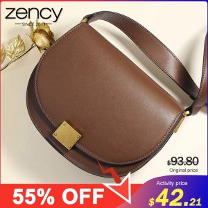 Zency 100% Genuine Leather Retro Women Crossbody Bag High Quality Elegant Lady Shoulder Messenger Bags Black Dark Brown Date Bag