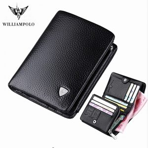 Willianmpolo genuine new leather three fold design