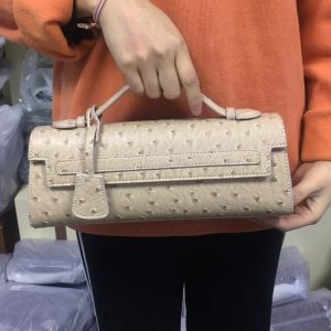 Summer Khaki Ostrich Women Clutch Bag Python Handbags Ladies Tote Bag Fashion Tote Purse Female Messenger Shoulder Bag