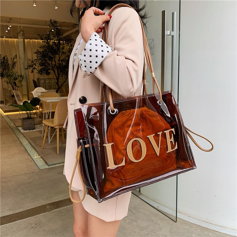 Casual Women Totes Designer Clear Pvc Shoulder Bags for Lady Transparent Hand Bag Letter Print Large Capacity Fashion Jelly Bags