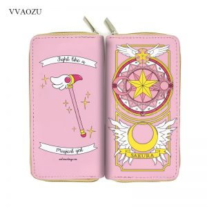 Anime Card Captor Sakura Wallet Cartoon Cardcaptor Sakura Kinomoto Long Leather Female Clutch Money Cards Zipper Cute Bags