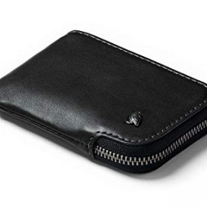 Bellroy Card Pocket (Small Leather Zipper Card Holder Wallet, Holds 4-15 Cards, Coin Pouch, Folded Note Storage) - Black