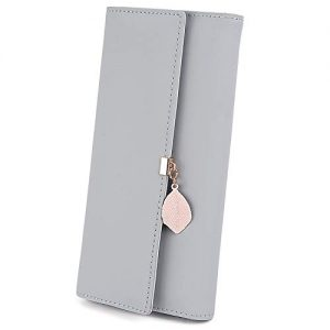 UTO Women PU Leather Wallet Large Capacity Leaf Pendant Card Phone Holder Checkbook Organizer Zipper Coin Purse A Grey