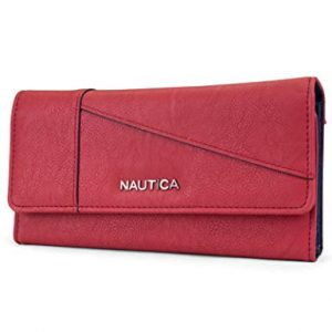 Nautica Money Manager RFID Women's Wallet Clutch Organizer (Fuego Red (Buff))