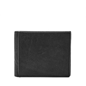 Fossil Men's Large Coin Pocket Bifold, Black, One Size