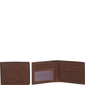 Ben Sherman Men's Bi-Fold Wallet, Marble Crunch Brown Leather