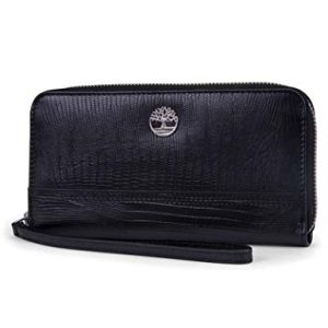 Timberland womens Leather RFID Zip Around Wallet Clutch With Wristlet Strap, Black (Lizard),One Size
