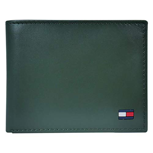 Tommy Hilfiger Men's Leather Wallet – Slim Bifold with 6 Credit Card Pockets and Removable Id Window, Green, One Size