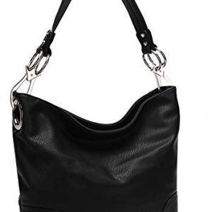 Mia K Collection Hobo Bag for Women - PU Leather Handbag - Womens Shoulder Bag Top Handle Fashion Pocketbook Purse Black