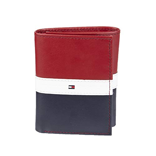 Tommy Hilfiger Men's Trifold Wallet, Red/White/Blue, One Size