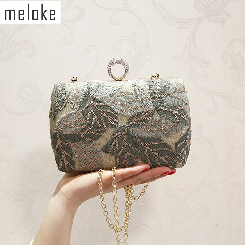 New women sequins evening clutch bling embroidery clutch wallets banquet bags for women diamond ring bags MN1342