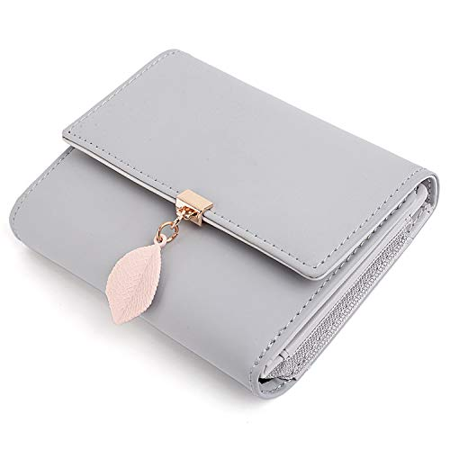 UTO Small Wallet for Women PU Leather Leaf Pendant Card Holder Organizer Zipper Coin Purse A Grey