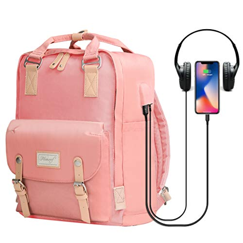 Cute Mommy Backpack Diaper Bag - Small Convertible Backpack Purse Bookbag with Top-Handle for Girls Women,Water-Resistant 14 inch Laptop Backpack with USB Charging Port & Headphone Jack