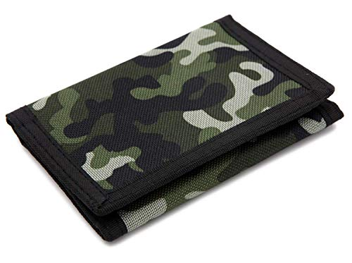RFID Trifold Canvas Camouflage Wallet for Men,Mini Coin Purse, Green, Size Small