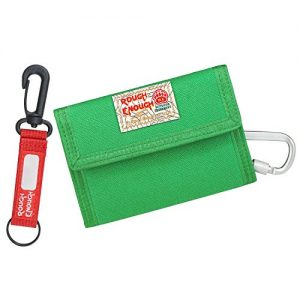 Rough Enough Green Canvas Boys Wallet for Kids Teen Girls Front Pocket Wallet with Zipper Credit Card Organizer Holder Coin Purse for Men Carabiner Clip Keychain for Travel Sport Unique Funny Gifts