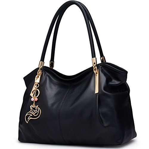Black Leather Handbags for Women, Genuine Leather Ladies Top-handle Bags with Keyring Jewelry Decoration Womens Real Leather Designer Shoulder Bags Women's Large Soft Tote Satchel Purses and Handbags