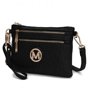MKF 2 in 1 Crossbody Bags for Women, Wristlet Purse - Ladys Small PU Leather Messenger Handbag - Adjustable Strap Black