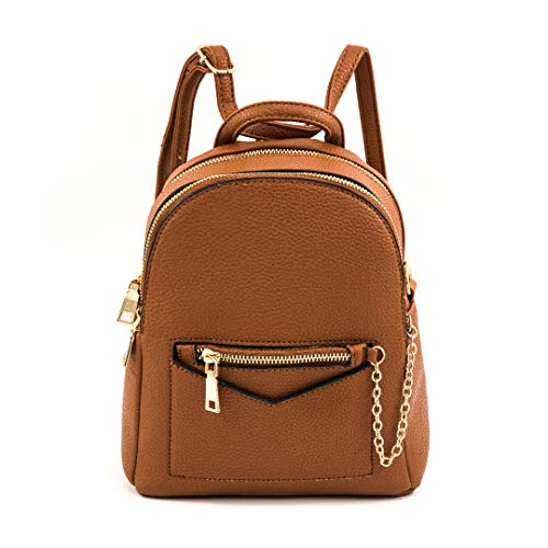 EMPERIA Kayli Faux Leather Mini Fashion 3 Way Carry Backpack Casual Lightweight Rucksack Daypack 3 Way Carry for Women Tan