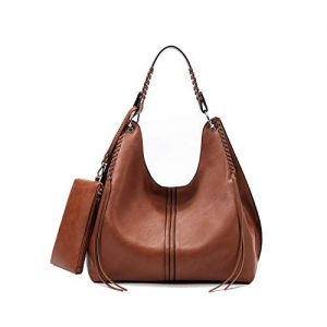 Handbags for Women Large Designer Tote Bag Hobo bag Crossbody Shoulder Bag Top Handle Bucket Purse Soft Faux Leather Set 2pcs Brown