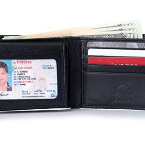 Alpine Swiss Mens Leather Wallet 2-In-1 Bifold Flip up Removable Card Case Black