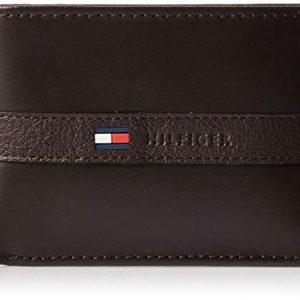 Tommy Hilfiger Men's Leather Wallet – Slim Bifold with 6 Credit Card Pockets and Removable Id Window, Dark Brown, One Size