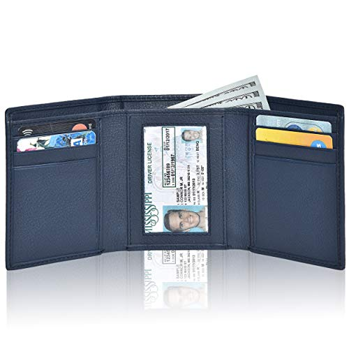 RFID Leather Trifold Wallets for Men- Handmade Slim Front Pocket Men's Wallet 6 Credit Card Holder with ID Window