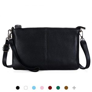 Black Leather Wristlet Clutch Mini Crossbody Wallet Purses Cell Phone Small Smartphone Crossbody Bag for Women