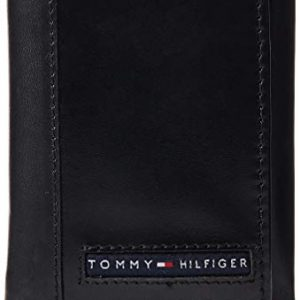 Tommy Hilfiger Men's Leather Trifold Wallet, Black/Black, One Size