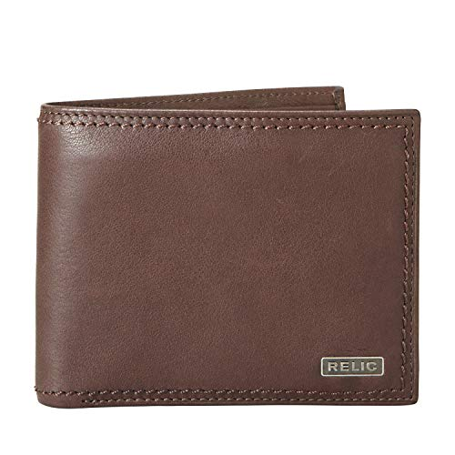 Relic by Fossil Men's Leather Traveler Bifold Wallet, Mark Brown, One Size