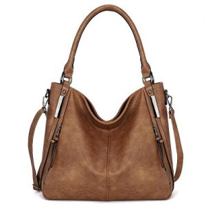 KL928 Womens Purses and Handbags PU Leather Shoulder Bag Waterproof Hobo Bags for Women Large (92-Brown-3)