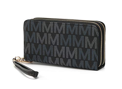 Mia K. Collection Wristlet Wallet for Women, Small PU Leather Handbag - Double Zipper Bag Multi Pocket clutch Purse, Black
