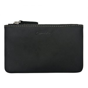 Mens Coin Purse Pouch Leather Change Holder Zipper Slim Wallet Black Money Organizer