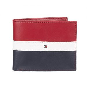 Tommy Hilfiger Men's Billfold Wallet, Red/Navy, One Size